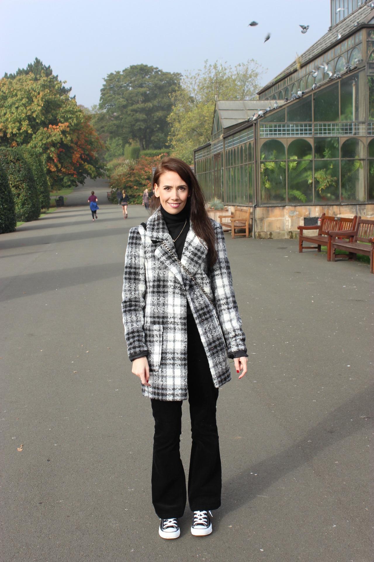 black and white check boyfriend coat