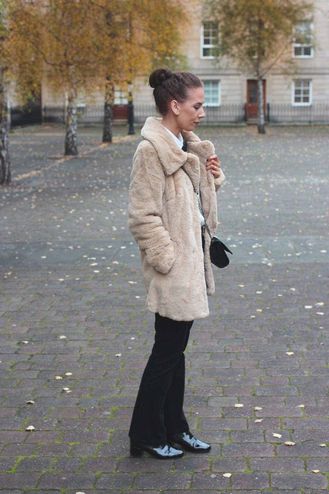 camel faux fur coat