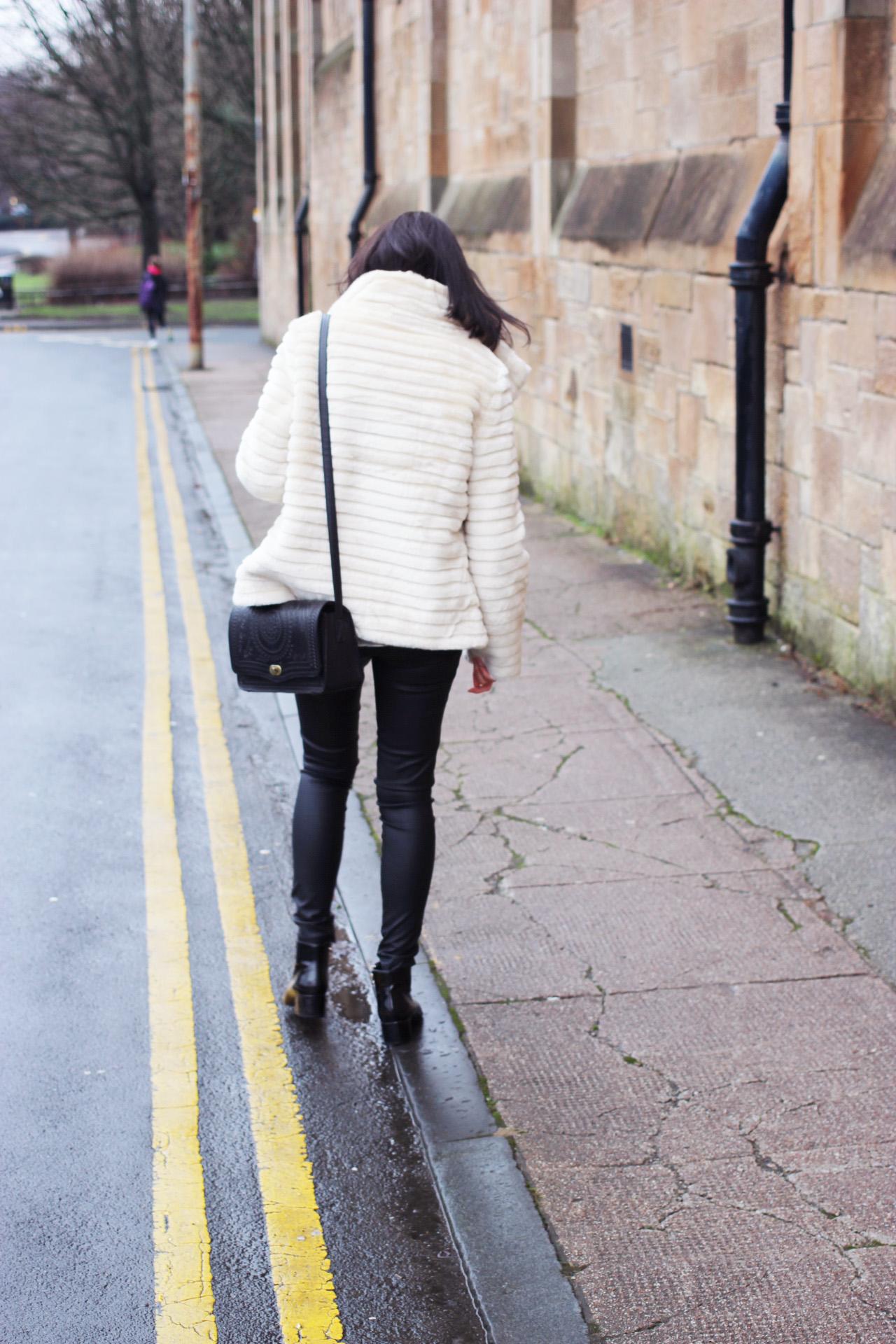 cream faux fur jacket