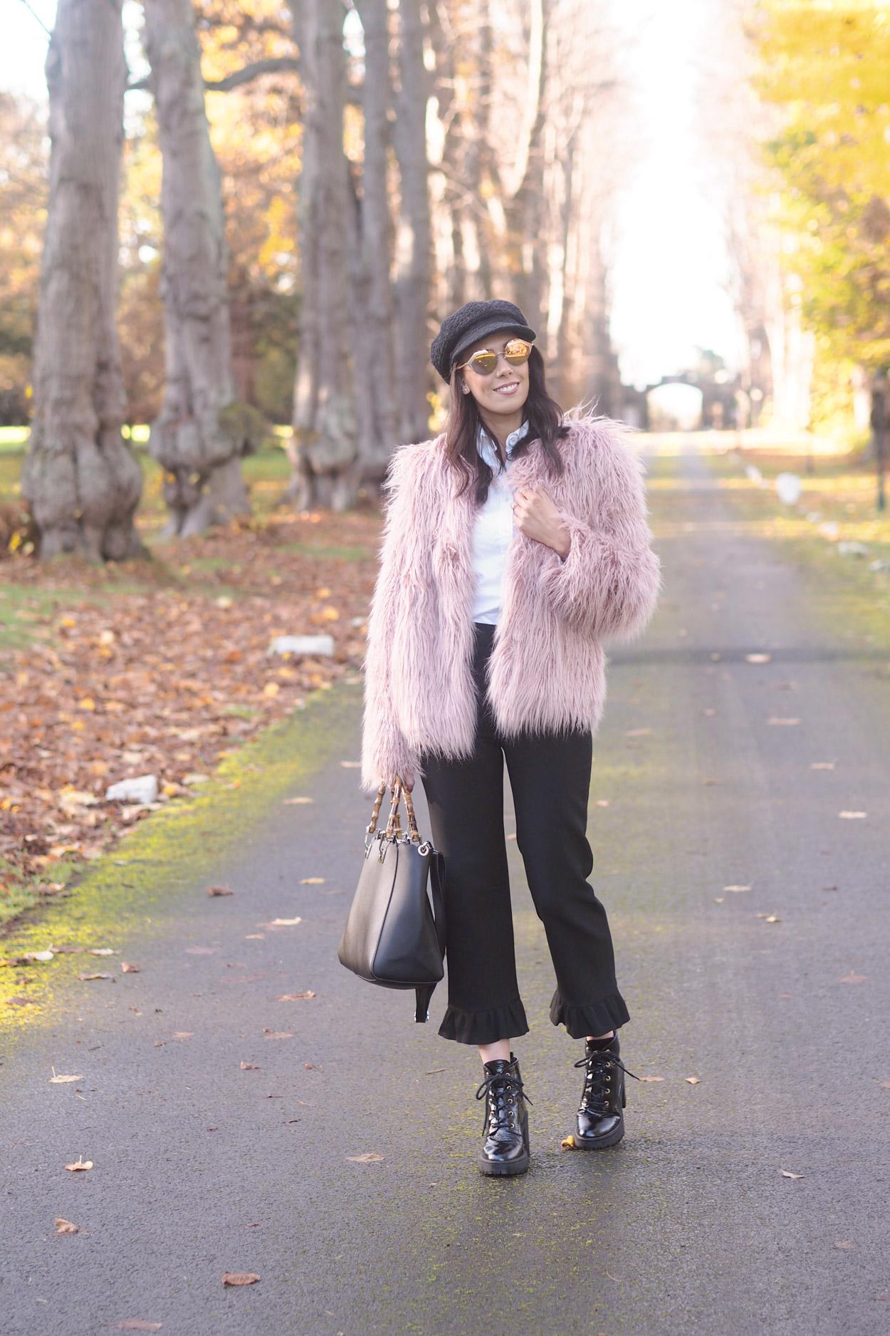 pink shaggy fur jacket | winter style | winter lookbook | Bulgari Serpenti pink mirror sunglasses | autumn fashion | fall style | lookbook