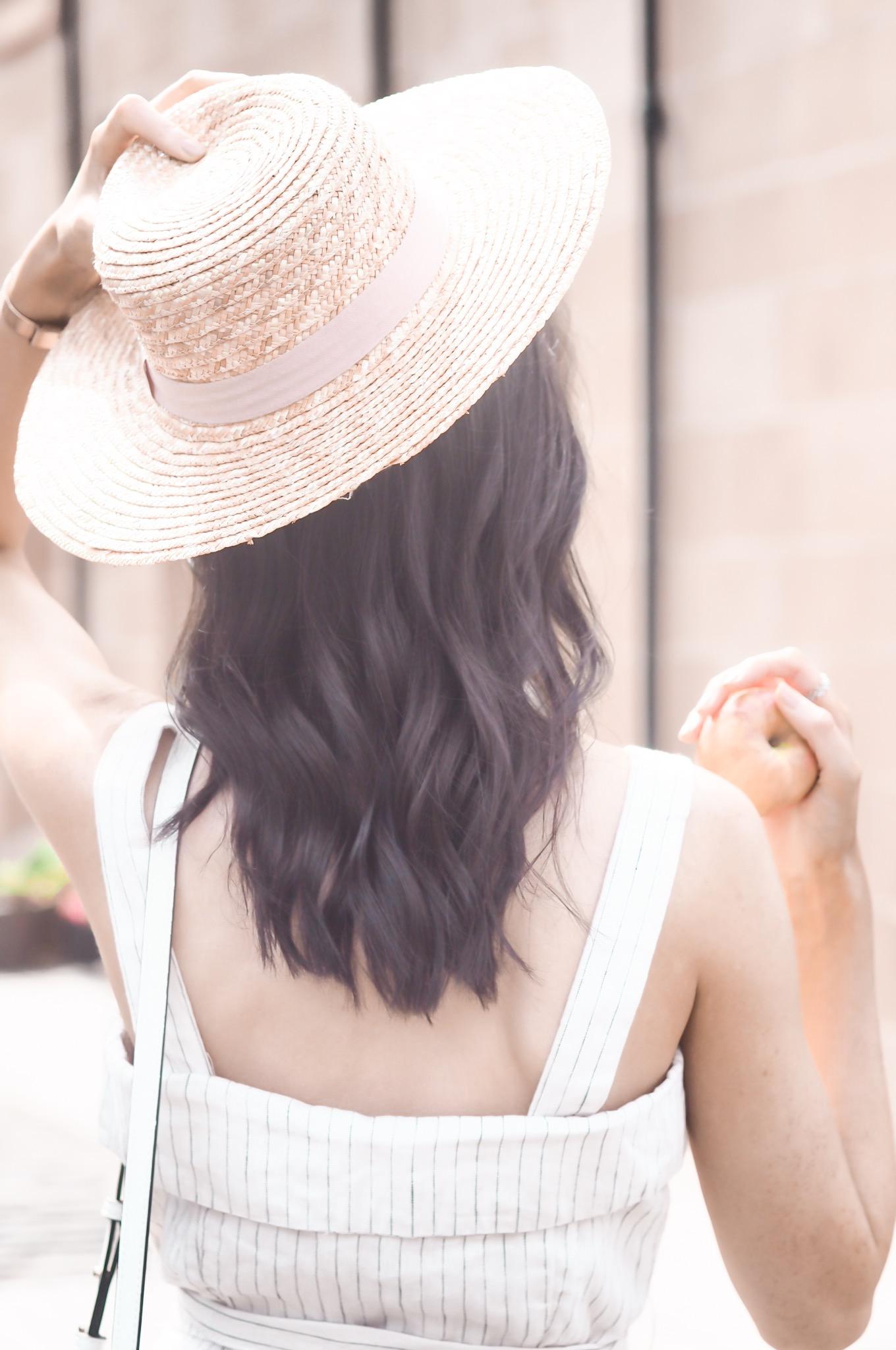 summer style   linen jumpsuit   mango striped linen jumpsuit   staud bucket bag dupe